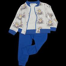Кофта белая на молнии и синие брюки