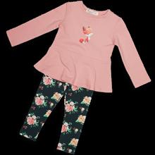 Блузка с лисичкой и легинсы с цветочками
